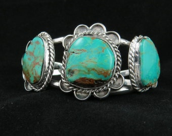 Vintage Silver Southwestern Natural Turquoise Cuff Bracelet