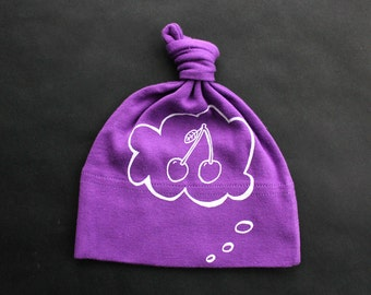 Baby hat, organic cotton, cherries, baby thought, knotted beanie