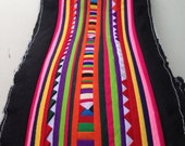 Hmong Textile, Lisu Fabric, hmong fabric, lisu tape, hill tribe, quilted, embroidered, craft, fabric, stripe, black, rainbow, quilt,