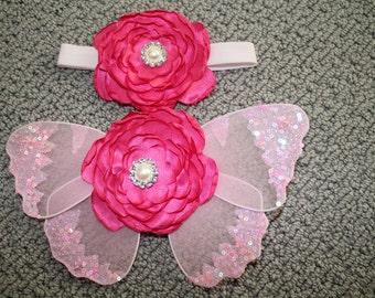 PINK Baby wings, newborn wings, butterfly wings W headband, fairy wings, newborn girl, newborn photo prop, wings, new baby girl, newborn