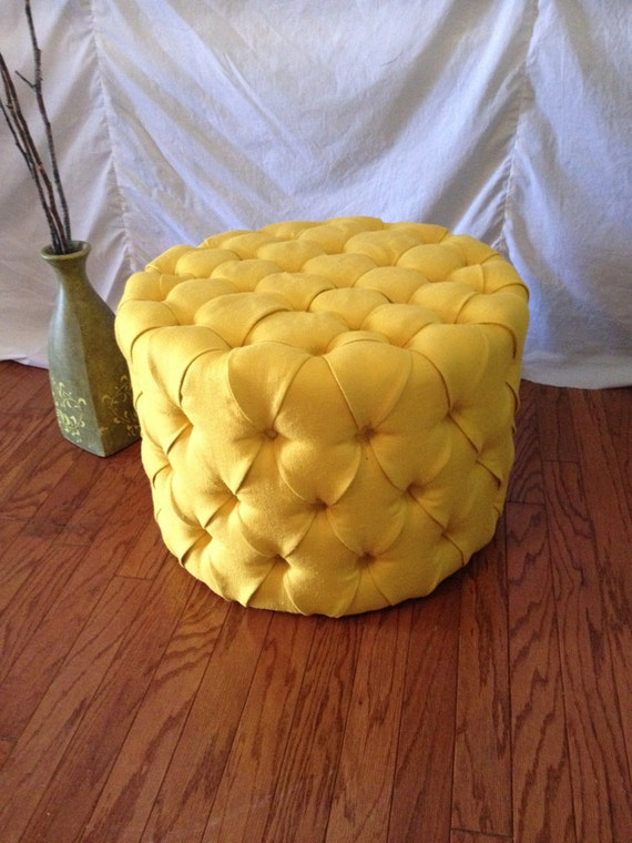 Round Tufted Ottoman Upholstered Ottoman Coffee By Newagainuph