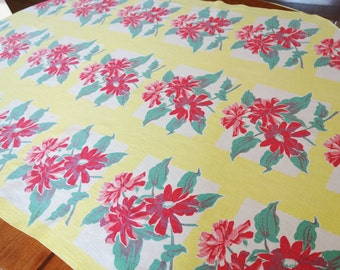 1940-50s Yellow Floral Fabric, Yellow Retro Panel, Yellow Table Runner