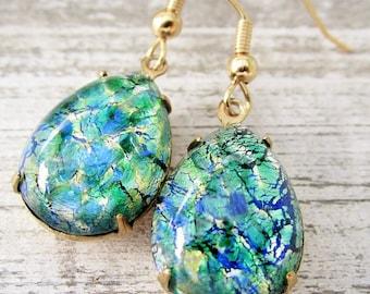 Emerald Green Opal Earrings, Vintage Emerald Green Glass Fire Opal Earrings, Opal Jewelry, Gold Dangling Teardrop Earrings