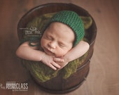 Newborn Knit Rounded Back Wool Bonnet Photo Prop Made to Order Choose Color