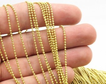 Gold Ball Chain, 10M (1.5mm) Yellow Brass Ball Chain  Z081