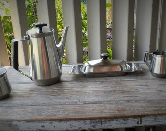 Velvet Stainless Steel Coffee set by Stanley Roberts Stainless Serving Pot, Sugar & Creamer and Covered Butter Dish