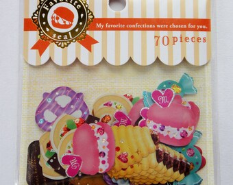 Cute Dessert, Cakes, And Sweets Japanese Sticker Flakes Set - Macaron, Whipped Cream, Chocolate, Strawberry, Pretzel, Biscuit, Cupcake, Roll