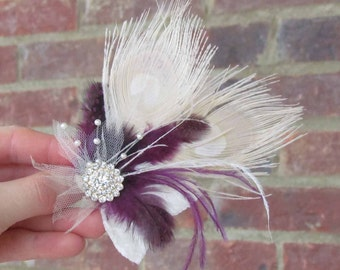 Ivory & Plum Feather Hair Clip for Your Wedding