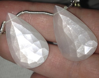 Large White Moonstone Elongated Faceted Briolette Pair