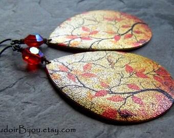 Boho Earrings-Bohemian Earrings-Autumn Earrings-Boho Jewelry-Large Teardrop Earrings-Statement Earrings-Swarovski