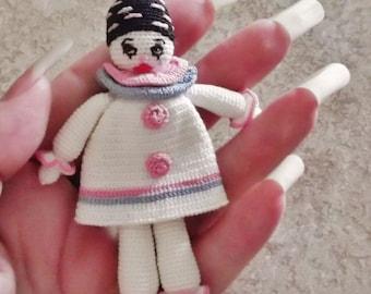 Bonnie's OOAK Crochet  Cotton Thread Item Tiny PIERROT Doll @ cyicrochet /Not A Toy