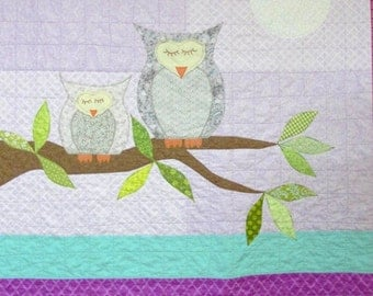 "Owl baby quilt- baby girl, ""How Big is the Sky"" mother and baby owls, full moon, leafy branch wall hanging, Ready to Ship, Ships free to USA"