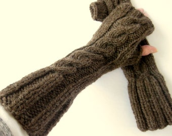 Fingerless Gloves, Fingerless Mittens, Wrist Cuff, Arm Sleeves, Half Finger Gloves, 3 Inch Cuff, Chocolate Brown, Ready To Ship