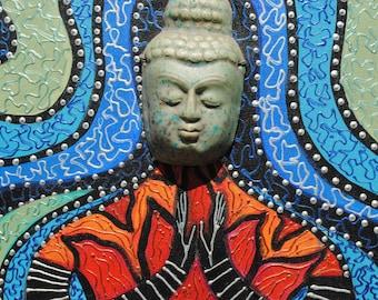 mixed media Buddha art painting assemblage wall art collage art ceramic mask