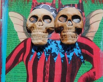 mixed media skull art painting assemblage wall art collage art ceramic mask twin art