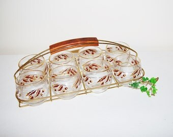 Mid Century Roly Poly Glasses with Carrier / Rack
