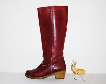 Vintage Boots Oxblood Leather Warm