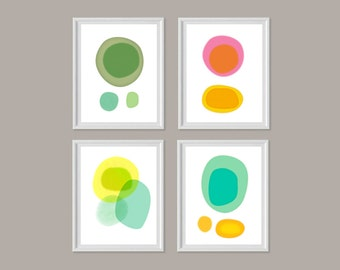 Colorful Abstract Art Prints, Set of 4 Prints, Large Wall Art, Living Room Wall Art