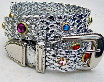 Vintage Woven Leather Belt Jewel Studded Metallic Silver Ladies Adjustable up to a 36 inch waist 1980s Flashy Cowgirl Style