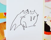 Cat Squeeze -Love Card - Cat Hug - Friendship Card - Sympathy Card - Fat Cats