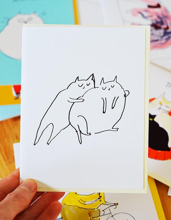 Cat Squeeze - Love Card - Cat Hug - Friendship Card - Sympathy Card - Fat Cats