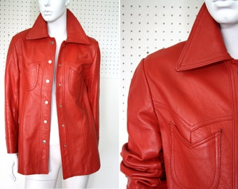Cherry Red Soft Leather Shirt Jacket with Fabulous 70's Style Pattern Lining