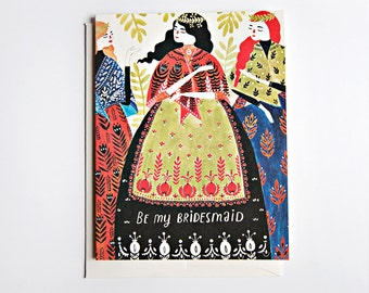 Be My Bridesmaid - three ladies Card