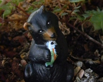 Black  Bear eating a trout fish  miniature ceramic  animal for terrariums gnome and fairy gardens