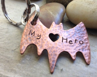 Bat Hero Keychain with heart cut out, BFF gift, Boyfriend gift, Super Hero gift, Geeky gift, Ready to ship