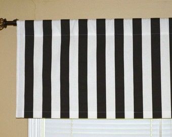 Window Valance Curtain - Black / White Stripes, Premier Prints Canopy -  Choose Size 52x16 inches or 52x18 inches - Valence