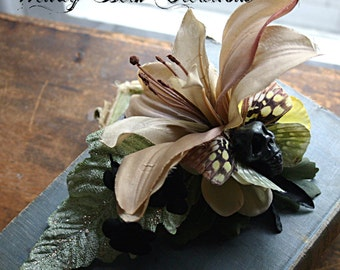 Changing Seasons Hair Clip Fascinator - Skull, Vegan, ATS, Tribal Fusion, Steampunk, Belly Dance, Butterfly, Yellow, Black, Lily