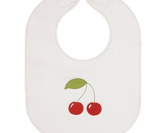 Cherries Leather Baby Bib with Adjustable Magnetic Clasp, White with Lime Green Accents - baby or toddler size