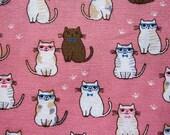Animal Print Fabric By The Yard - Classy Cats Fabric on Pink - Cotton Fabric - Half Yard