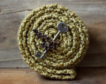 The Linden Conservatory Storyteller Scarf. Rustic Bohemian Folk Hand Crocheted Golden Yellow Wrap Fringe Scarf.