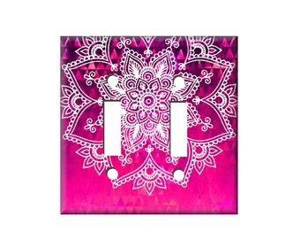 Mandala Switchplate Cover  - Hot Pink Switchplate - Light Switch Cover - Electrical cover - Henna Switch plate