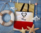 Personalized Disney Cruise Mickey and Minnie Canvas Tote Bag