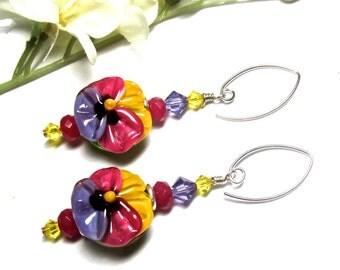 Pansy Earrings Spring Earrings Colorful Earrings Fuchsia Earrings Lampwork Earrings Flower Earrings Glass Earrings Artisan Earrings