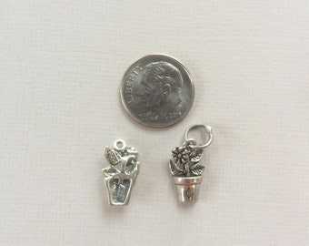 Flower in a Pot Sterling Silver Charm