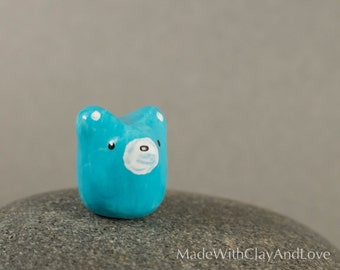 Little Blue Bear - Miniature Polymer Clay Animal Terrarium Figurine - Hand Sculpted