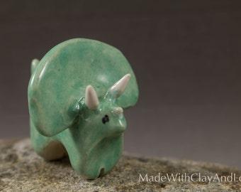 Little Triceratops Dinosaur - Hand Sculpted Miniature Terrarium Figurine Ceramic Animal