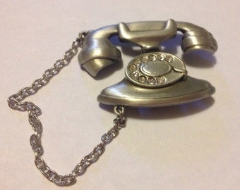 JJ Vintage rotary telephone with rhinestones pewter brooch