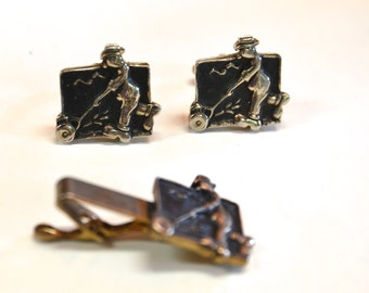 70s mowing man Fathers day silver tone cuff links and tie clip set