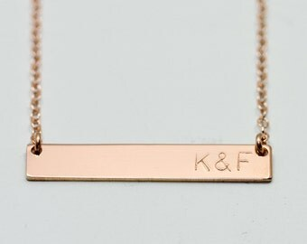 Rose gold necklace - rose gold bar necklace - rose gold jewelry - initials necklace - dainty engraved necklace - personalized gift for her