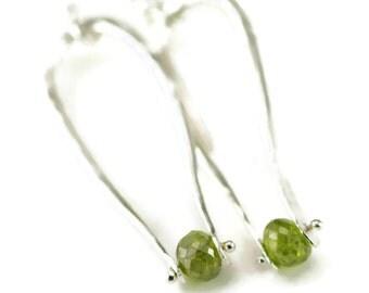 Peridot Sterling Earrings - Moonstone or Smoky Topaz Earrings - Pinned Dangle Earrings