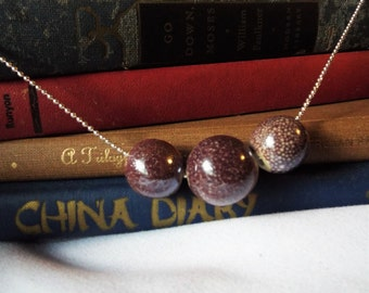 Plum Purple Necklace Speckled Pottery Beads on Silver Ball Chain