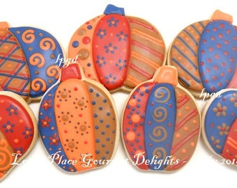 Folk Art Pumpkin Cookies - Pumpkin Cookies - 14 Cookies