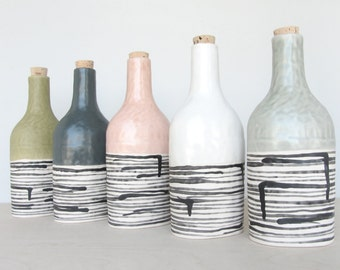 Pinched Porcelain Striped Bottle with Cork - Made to Order