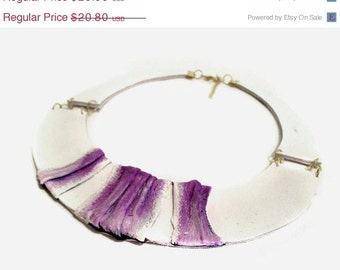 50% OFF SALE 35 Percent OFF Sale Stylish bib leather necklace in white and purple Leather jewelry. Elegant statement necklace.