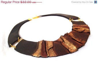50% OFF SALE Bib leather necklace Leather jewelry Elegant statement necklace.