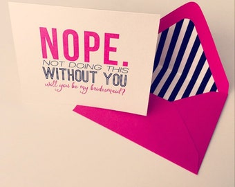 Bridal Party Cards (Modern Luxe) - Hot Pink & Black Stripes